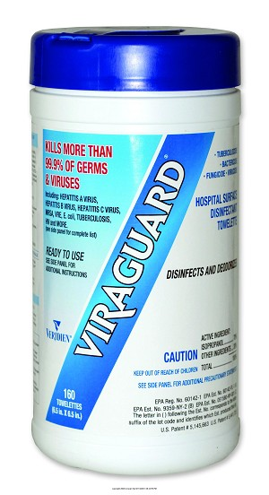 Viraguard Hospital Surface Disinfectant Towelettes, Viraguard Surface Disinf Wipe, (1 BOX, 160 EACH)