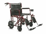 Ultralight Bariatric Transport Chair w/ Permanent Full Length Arms (22in red)