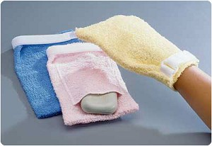 Terry Cloth Antimicrobial Wash Mitts Plain, Blue/Large