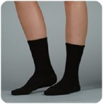 SILVER SOLE SUPPORT SOCK,12-16MMHG,MED,CREW,BLACK