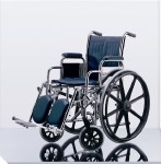 Excel Narrow Wheelchair w/ Permanent Arms (16in blue)