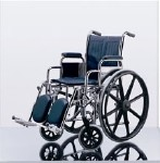 Excel Narrow Wheelchair w/ Permanent Arms and Elevating Legrests(16in blue)