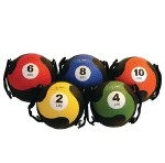 FitBALL MedBall with Straps - Blue, 8 lbs, diameter 9