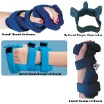 Comfy Wrist/Hand/Finger Orthosis - Spring Loaded Goniometer, Adult Small, Blue