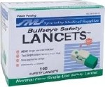 BULLSEYE SAFETY LANCETS, NORMAL FLOW, 23G, 100/BX