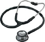 STAINLESS STEEL BLACK STETHOSCOPE, ADULT