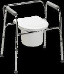 EASY CARE COMMODE, CHROME STEEL, BACKREST, 350 LBS