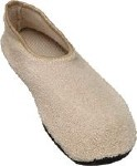 NON SKID SLIPPERS BEIGE SIZE 10 AND UP, PAIR