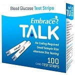 Omnis Health Embrace TALK Blood Glucose Test Strip, 100 Count