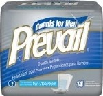 PREVAIL MALE GUARDS W/ADHESIVE STRIP, 14/BAG